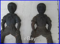 Vintage Cast Iron Black Americana Fireplace Andirons Fire Dogs Seamen/sailors