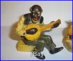 Vintage Cast Iron Black Americana Hubley Toy Figures Banjo Player, Mammy +