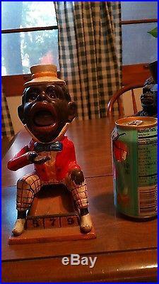 Vintage Cast Iron Black Americana J E Stevens Bank