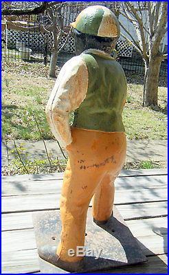 Vintage Cast Iron JOCKO Lawn Jockey Statue Buff Green & White Outfit Ring
