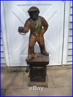 Vintage Cast Iron Lawn Jockey, 38 Tall