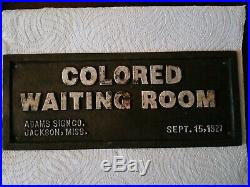 Vintage Cast Iron Segregation Sign Colored Waiting Room Jackson, Miss