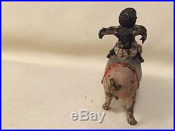 Vintage Cold Cast Bronze Figurine -Two Black Children Riding a Pig- Hand Painted