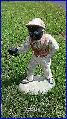 Vintage Concrete Black Americana Lawn Jockey 26 Heavy