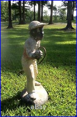 Vintage Concrete Jocko Lawn Jockey Black Americana 26 Tall