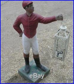 Vintage Concrete Lawn Jockey With Lantern