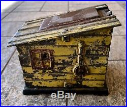Vintage J. E. Stevens Black Americana Cast Iron Mechanical Coin Bank Cabin 1885