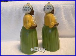 Vintage LUZIANNE GREEN YELLOW MAMMY SALT & PEPPER SHAKERS ORIG Black Americana