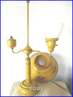 Vintage Mid Century Americana Mustard Yellow Tole Table Desk Library Lamp