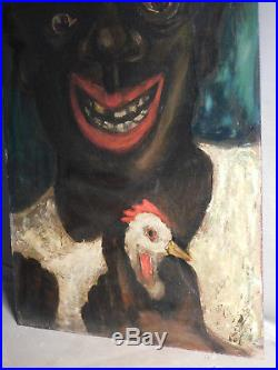 Vintage Modern Outsider Folk Art Black Americana Chicken Rooster OUTLANDISH 1950