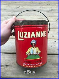 Vintage Old Luzianne 3 LB Coffee and Chicory Tin Litho Can Black Americana Clean