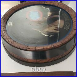 Vintage Olympia Beer Barrel Lighted Round Sign ASK FOR OLY Black Americana
