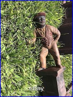 Vintage Original Cast Iron Jocko Lawn Jockey Andirons Pair Original paint OMG