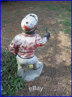 Vintage Original Paint Cement LAWN JOCKEY Statue Black Jocko Americana No Reserv