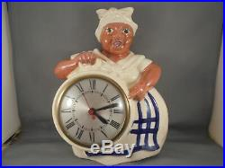 Vintage Original Red Wing Pottery Black Americana Mammy Wall Clock Working