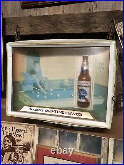 Vintage PABST BLUE RIBBON PBR Black Americana 3D Display Lighted Beer Bar Sign