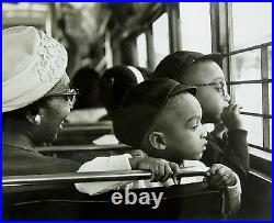 Vintage PHOTO BEAUTIFUL LITTLE AFRICAN AMERICAN BOYS ON BUS with MOM GRANDMA NY DC