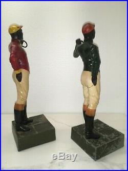 Vintage Pair Black Americana Lawn Jockey Bookends / Groomsman Statues