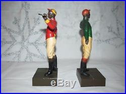 Vintage Pair Cast Iron Lawn Jockey Bookends Black Americana Groomsman Statues