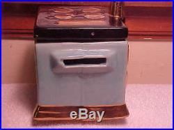 Vintage Rare Black Americana S&P salt pepper Shaker withGrease jar stove Turquoise