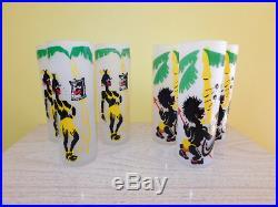 Vintage Set 1950s LIBBEY Tom Collins Black Americana TIKI Tropical Native Kitsch