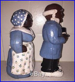 Vintage Solid Cast Iron Aunt Jemima And Uncle Moses Door Stops 8 Rare