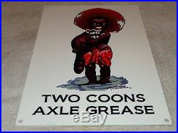 Vintage Two Coons Axle Grease Black Americana Boy Raccoon 12 Metal Gas Oil Sign