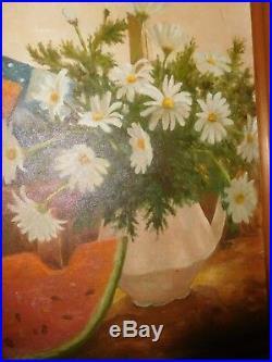 Vintage Victorian Scene Mammy Doll Black Americana Oil Painting Artist Signed