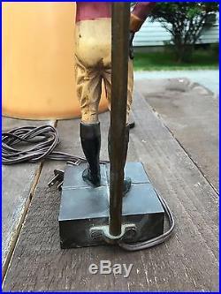 Vintage and Original Black Americana Lawn Jockey Lamp 1930s with Original Shade