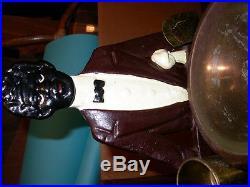 Vintage black americana cast iron butler ashtray cigarette smoking stand