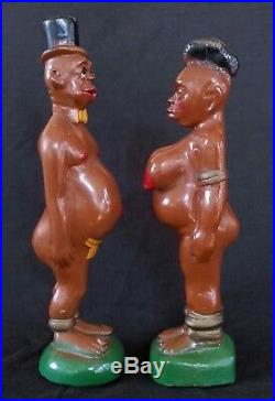 Vintage satirical Black Americana pair of chalkware statues 1930', 12 inches
