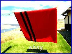 Vntg Baron Woolen Mills-Utah Rising Sun Wool Blanket Red WithBlack Stripe 80 x 90