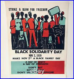 Vtg 1970 Black Solidarity Day Strike A Blow For Freedom Activist Poster