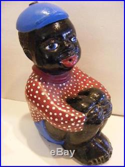 Vtg BLACK Americana Paint BOY Cast Iron Concrete Lawn Statue YARD ART Door Stop