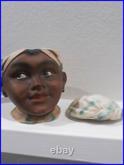 Vtg Black Americana Aunt SYRUP Figural Head Tobacco Jar Humidor Antique Pancake