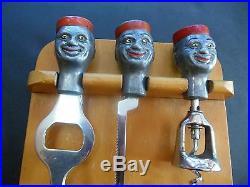 Vtg Black Americana Bellhop 3 Pc Bar Set on Wood Display Rack 1930's RARE! JA10