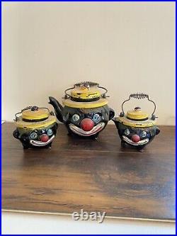 Vtg Black Americana Hand Painted Clown Teapot Set