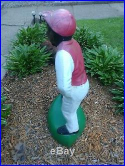 Vtg Black Americana Lawn Jockey Jocko Yard Statue Light Hitching Post Concrete