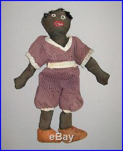 Vtg Ca 1930s Folk Art Black Sateen Cloth Rag Doll Antique 14 Nice Orig Clothing