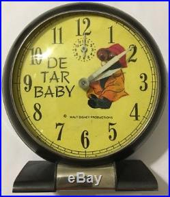 Vtg De Tar Baby Black Americana Advertising Clock Walt Disney Productions