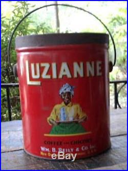 Vtg LUZIANNE COFFEE&CHICORY Advertising TIN CAN withLID&HANDLE Black Americana