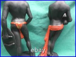 Vtg Marwal Chalkware African Masai Tribal Warrior/Woman Blackamoors 19 Statues