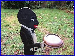 Vtg ORIGINAL Painted Wood BLACK AMERICANA BELLBOY Butler SMOKING STAND Folk Art