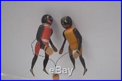 Vtg antique blk americana rastus boxer Lola Germany wood articulate wire puppet