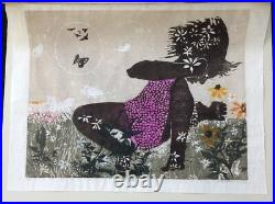 WALTER WILLIAMS Girl with Butterflies #2 Signed 173/210 1964 Mid Century