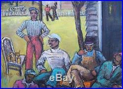 WPA ERA 1940's NY BLACK AMERICANA AMERICAN IMPRESSIONIST OIL PAINTING 24x18 NR