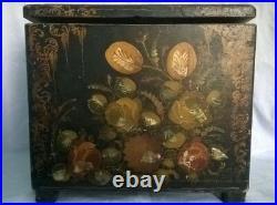 Wood TOLE PAINTED BOX black wooden document chest VINTAGE storage unknown origin