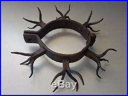 Wow! Old Collar Shackles Forged Iron Huge Lot Of Spikes For Man's Neck Torture