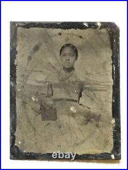XXX RARE EARLY 1800s Tintype AFRICAN AMERICAN LADY Beautiful Necklace & Book