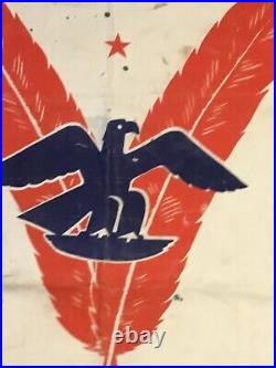 XXX Rare Ww2 Banner/ Flag Doulbe V Victory Against Racism In The USA And Nazi